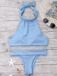 Ribbed High Neck Bikini Set - Light Blue L