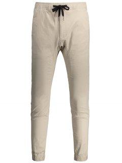 Casual Drawstring Jogger Pants - Light Khaki 34