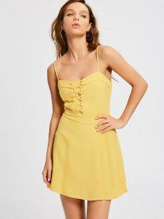 Smocked Panel Lace Up Slip Dress - Yellow S