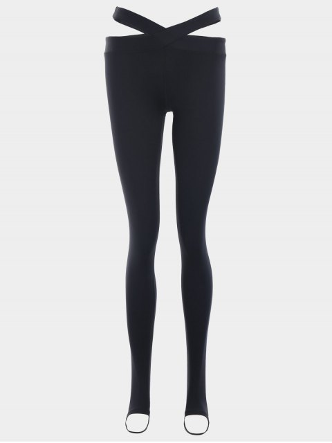 women Stirrup Bandage Yoga Leggings - BLACK S Mobile