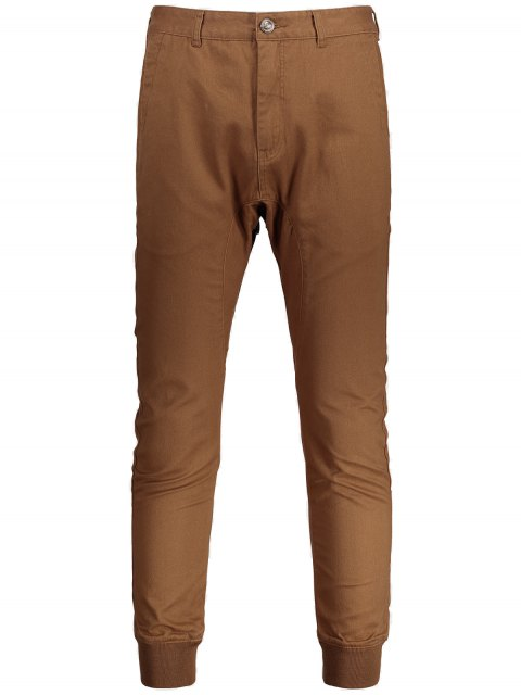 lady Men Casual Zip Fly Jogger Pants - BROWN 34 Mobile