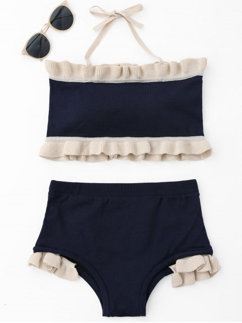 lady Ruffle Knit Halter Bikini Set - PURPLISH BLUE ONE SIZE Mobile