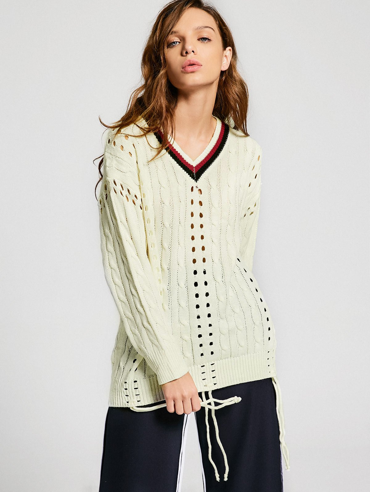 Contrast Hollow Out Cable Knit Sweater 220335901