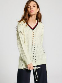 Buy Contrast Hollow Cable Knit Sweater - PALOMINO ONE SIZE