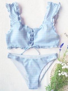 Gingham Lace Up Bralette Bikini Set - Blue And White M