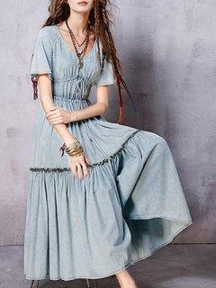 V Neck Short Sleeve Flounce Ruffles Vintage Dress - Light Blue S