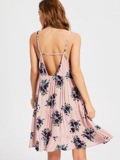 Ruffles Cut Out Swing Slip Dress - Nude Pink M
