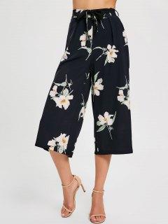 Floral Belted Wide Leg Pants - Black S