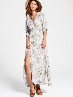 Floral Slit Button Up Maxi Dress - White L