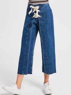 Denim Lace Up Wide Leg Jeans - Denim Blue S