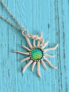 Sun Mermaid Scale Pendant Necklace - Green