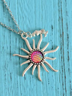 Sun Mermaid Scale Pendant Necklace - Rose Red