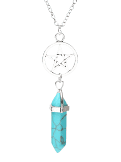 Circle Star Natural Stone Pendant Necklace - Turquoise Blue