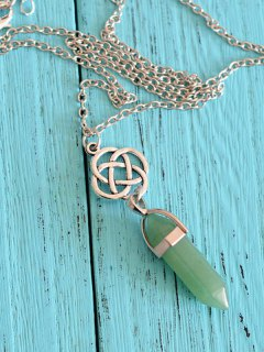 Natural Stone Pendant Collarbone Necklace - Green