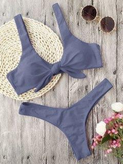 Padded Knotted Thong Bikini - Gray S