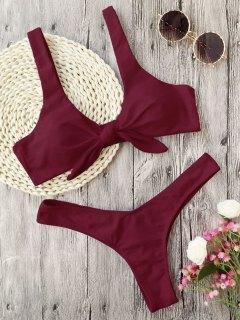 Padded Knotted Thong Bikini - Burgundy S