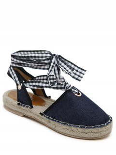 Slingback Stitching Tie Up Sandals - Deep Blue 41