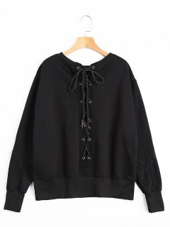 Back Lace Up Pullover Sweatshirt - Black S
