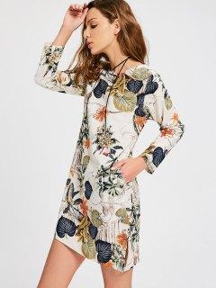 Leaves Print Side Slit Trapeze Dress - Multi M