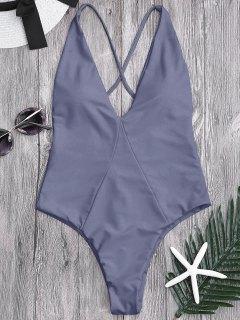 High Cut Cross Back Swimwear - Gray M