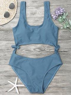 High Leg Cut Out Bowknot Swimwear - Blue Gray L