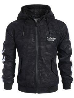 Side Letter Print Camo Hooded Jacket - Black 3xl