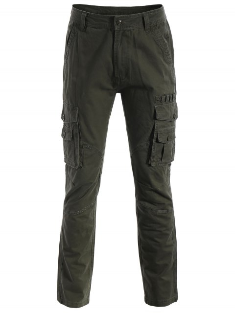 shop Flap Pockets Pants - ARMY GREEN S Mobile