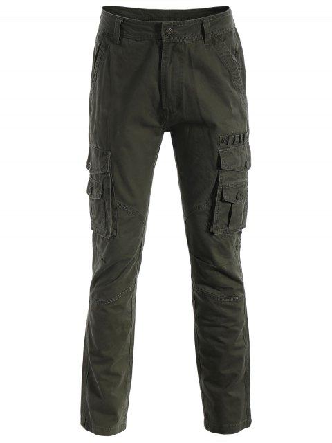 trendy Flap Pockets Pants - ARMY GREEN 3XL Mobile