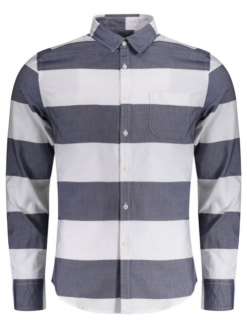best Single Breasted Pocket Striped Shirt - BLUE AND WHITE 2XL Mobile