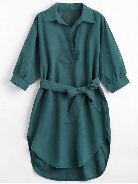 womens Three Quarter Sleeve Belted Shift Dress - BLACKISH GREEN L Mobile