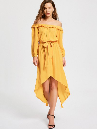 Zaful Off The Shoulder Belted Asymmetric Dress
