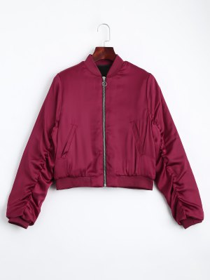 Puffer Zip Up Bomber Jacket - Red - Red S