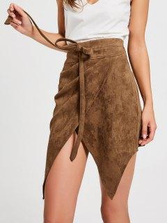 Bowknot High Waist Faux Suede Skirt - Dark Khaki M