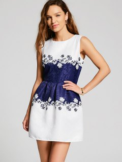 Sleeveless Floral Jacquard Dress - White Xl