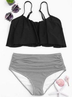 Stripe Panel High Waisted Bikini Set - Black M
