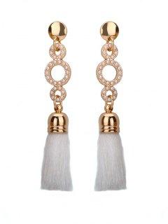 Beaded Circle Tassel Long Earrings - White