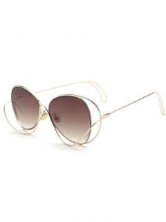 Ombre Metallic Curve Surround Sunglasses - Tea-colored