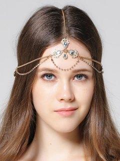 Forehead Faux Gem Rhinestone Head Chain - Golden