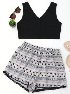 Crop Top And Geometric Print Shorts Set - Black S