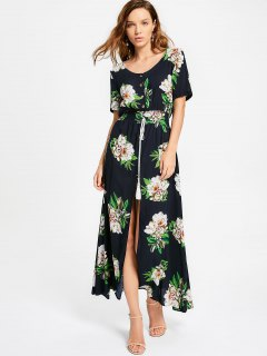 High Slit Floral Print Tassels Maxi Dress - Purplish Blue Xl
