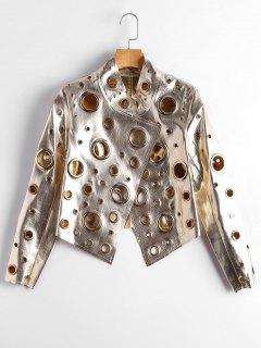 Hollow Out Ring Embellished Shiny Jacket - Golden L