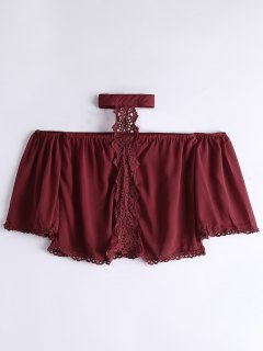 Loose Lace Panel Choker Blouse - Wine Red S