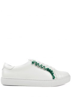 Faux Leather Lace Up Ruffles Flat Shoes - Green 38