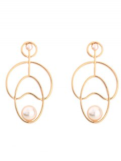 Hollow Out Faux Pearl Stud Earrings - Golden