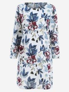 Leaves Print Side Slit Trapeze Dress - Blue M