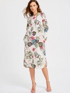 Floral Print Long Sleeve Slit Dress - Multi 2xl