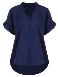 Chemise Grande Taille Boutonnée à Col En V - Bleu Violet 4xl