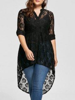 Long Sleeve High Low Lace Plus Size Top - Black 5xl