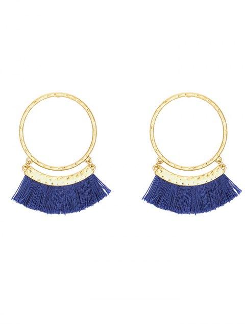 Fringed Statement Hoop Stud Earrings - Bleu  Mobile