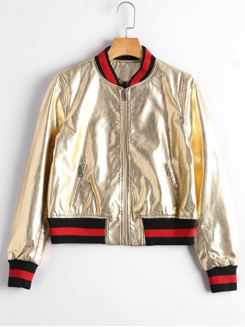 trendy Zip Up Faux Leather Bomber Jacket - GOLDEN S Mobile